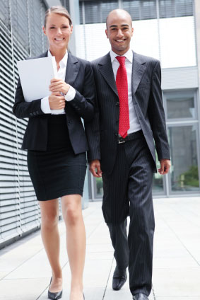 Two business colleagues walking