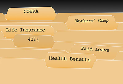 File Folders of employee benefits