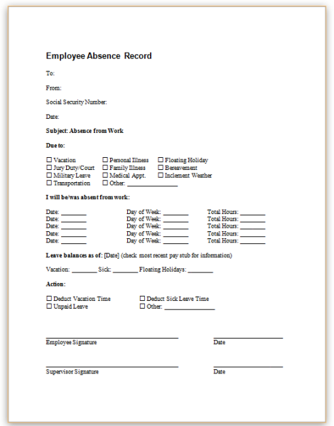 Absence from work formg this sample form allows employers to record instances of employee absence including information on reason for absence length of absence and type of leave pronofoot35fo Image collections