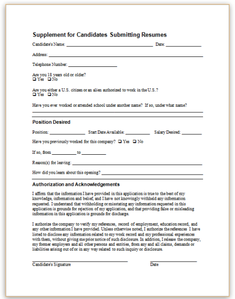 form specifications