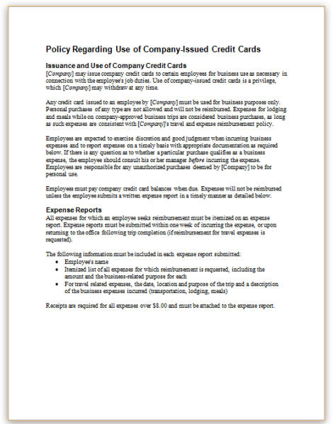 Policy regarding use of company issued credit cards reheart Choice Image