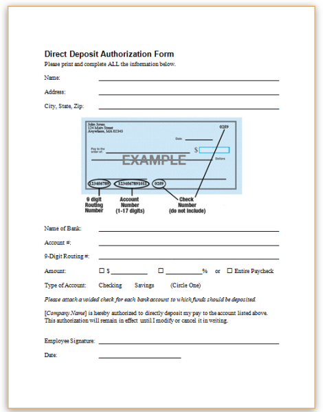 employee direct deposit form  Direct Deposit Form