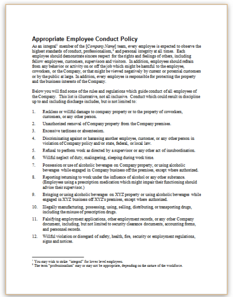 This sample policy provides an example of a company's ...