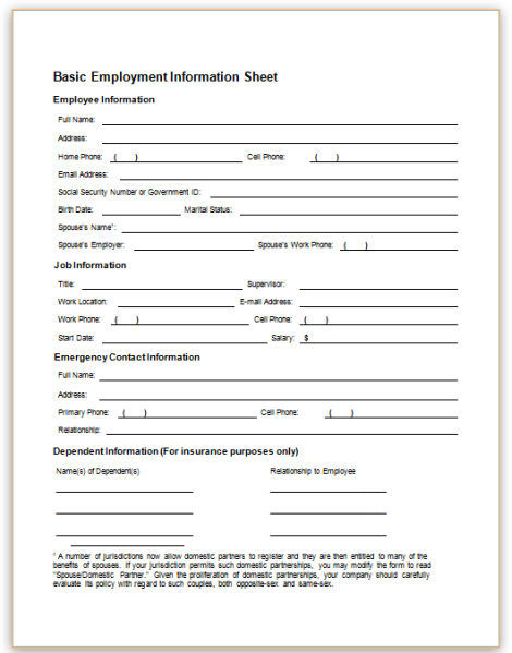 This Sample Form Collects Basic Information About An Employee, Including  Emergency Contact Information, For An Employer To Keep On Record.  Employee Information Form Sample