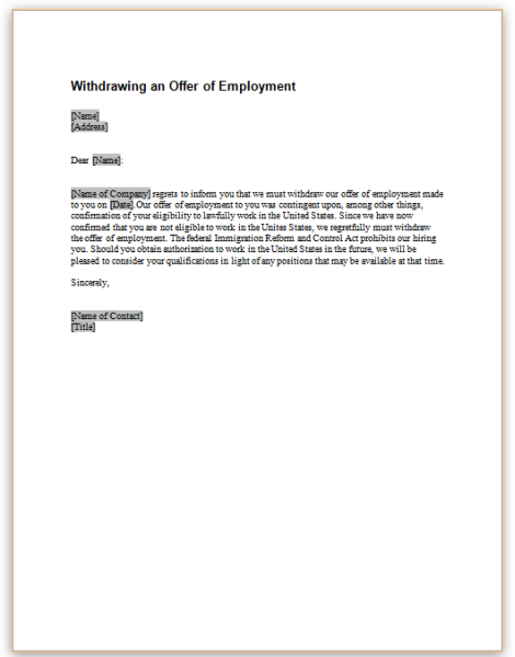 this sample letter provides notice that an employment offer is being withdrawn because of ineligibility to work in the united states