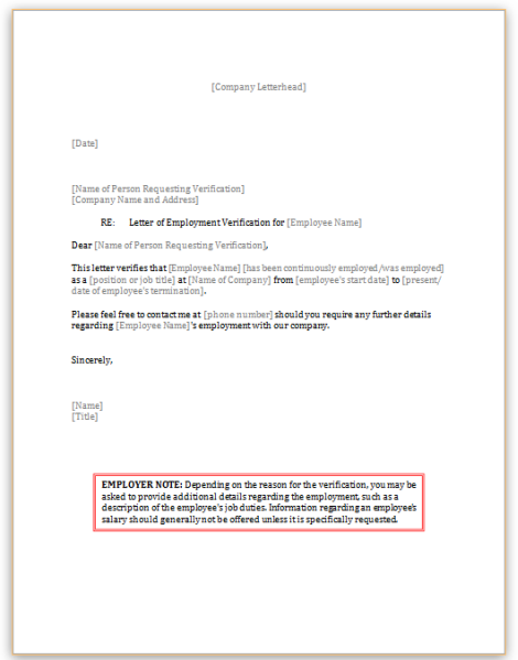 Employment Verification Form | Employment Verification Letter