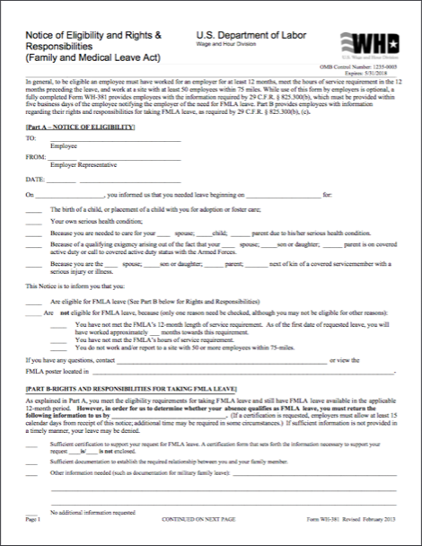 A fully completed Form WH-381satisfies an employer's ...
