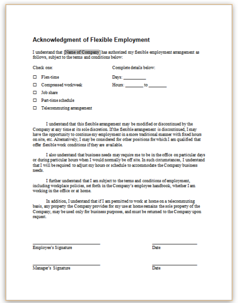 this sample form acknowledges that an employer and employee have agreed to a particular flexible work arrangement including certain terms and conditions of