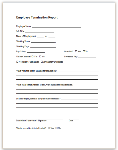 This Sample Form May Be Used As An Internal Record Of An Employeeu0027s  Separation From Employment.  Employee Termination Form Template Free