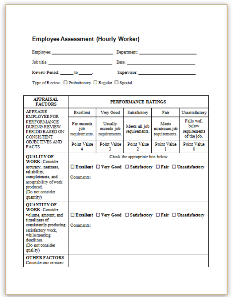 Hourly-Employee-Evaluation Teacher Performance Appraisal Examples on for concept plans, satisfactory employee, for students,