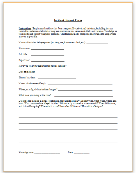 Tips Alcohol Incident Report Log Book College Paper Service