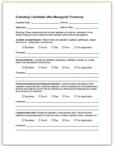 candidate assessment form sample
