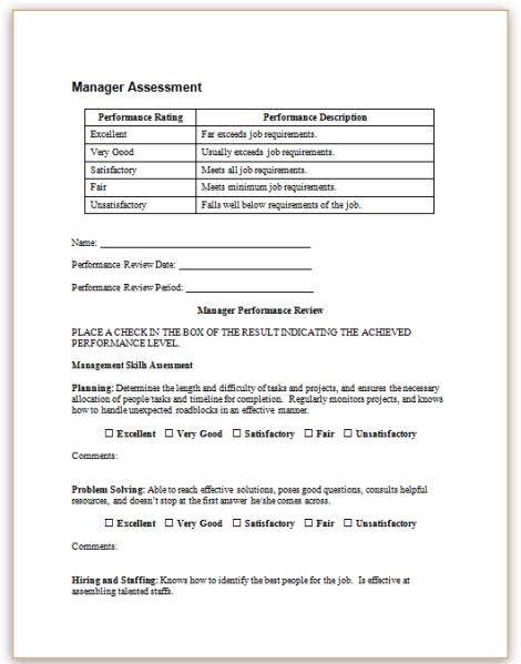 sample job performance reviews