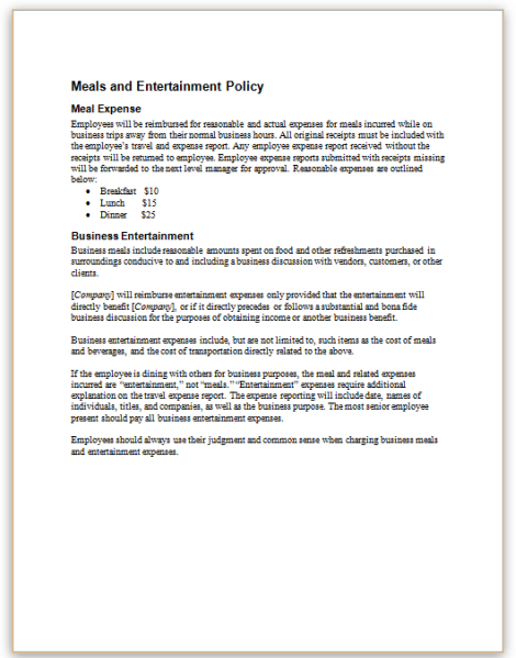 This Is A Policy Sample Detailing What And How A Company