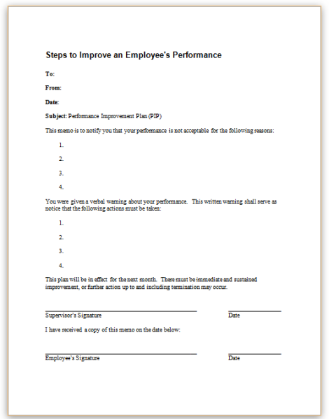 This Sample Communication Informs The Employee In Writing Of Poor  Performance And Outlines Actions The Employee Should Take To Improve.