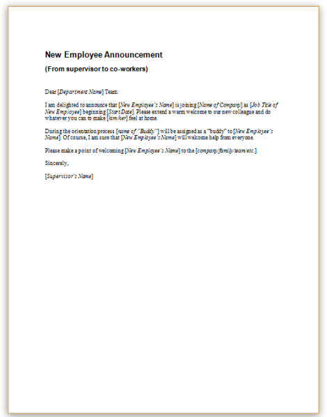 New Hire Announcement Letter from www.hr360.com