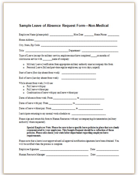 This Sample Form For Employee Leave Of Absence Requests Gathers Basic Information From Employees Requesting Non Medical Purposes