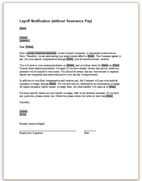 this sample letter provides notice to employees that termination of employment will occur due to a layoff