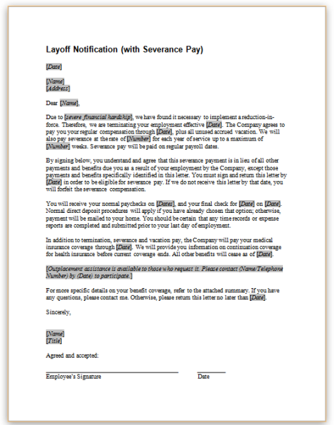 Notification of layoffg this sample letter provides notice and severance pay information to employees that are being laid off thecheapjerseys Choice Image