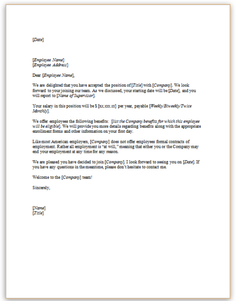 Orally accepted employment offer exempt positiong this sample letter is one example of a formal communication from an employer to follow up with a new employee that has verbally accepted an offer for an spiritdancerdesigns Choice Image
