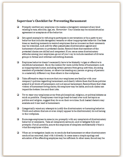 This sample checklist outlines appropriate steps managers for Sexual harassment letter template