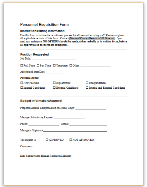 This Sample Form Requests That A New Position Be Created Or That A New  Employee Be Hired As A Replacement.
