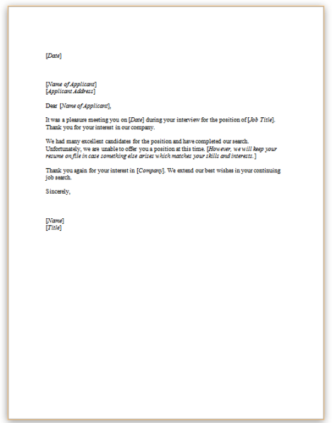 Rejection letter interviewed applicantsg this sample letter informs a candidate who has interviewed with the company that an offer of employment will not be extended thecheapjerseys Choice Image