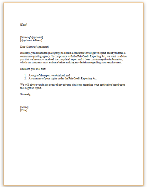 pre adverse action letter this sample letter to be sent to a candidate prior to the 24041 | Sample Before Adverse Action Letter