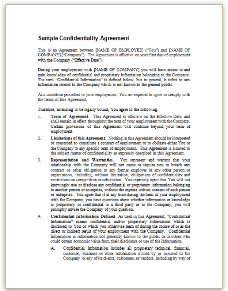 SampleConfidentialityAgreementpng – Employment Confidentiality Agreement