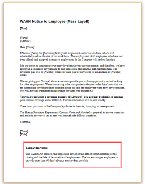 this sample letter informs employees of employers covered by the worker adjustment and retraining notification warn act that employment will be terminated