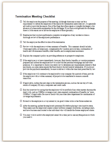this sample checklist describes topics that an employer