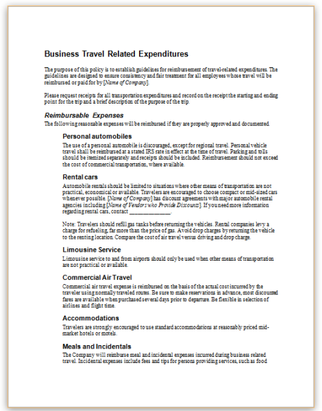 company travel policy template - employee handbook sample sample employee handbook pages