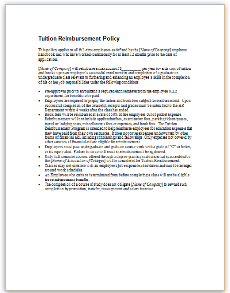 this is a sample policy for employer tuition reimbursement programs
